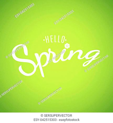 Hello Spring. Text banner on a light green background. Background for your design. Lettering and calligraphy. Spring Flower. Vector illustration