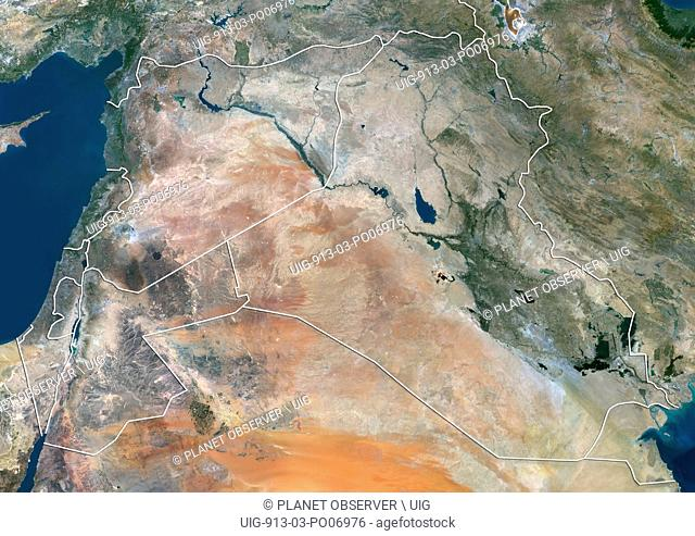 Satellite view of Syria, Iraq and Jordan (with country boundaries). This image was compiled from data acquired in 2014 by Landsat 8 satellite