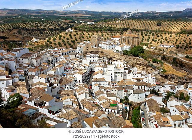 Panoramic view, Setenil de las Bodegas, Cadiz province, Region of Andalusia, Spain, Europe,