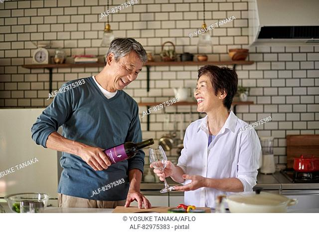 Japanese senior couple in the kitchen