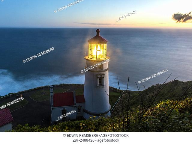 Heceta Head lighthouse at dusk, Oregon Coast, USA