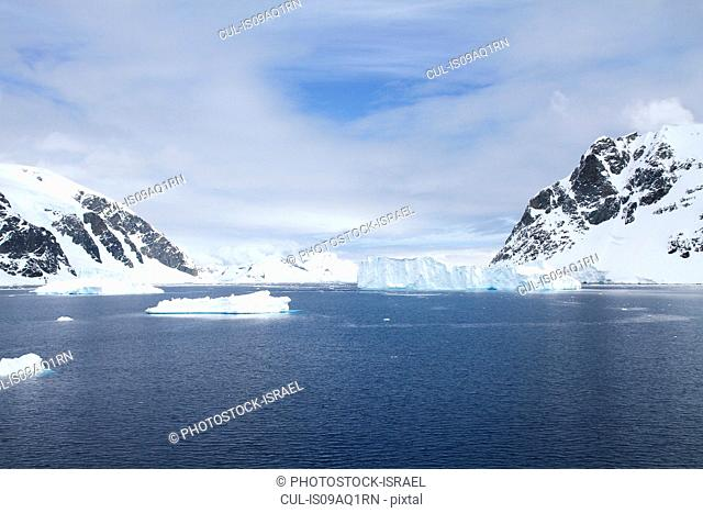 View of icebergs and mountains, Neko Harbor, Andvord Bay, Antarctica