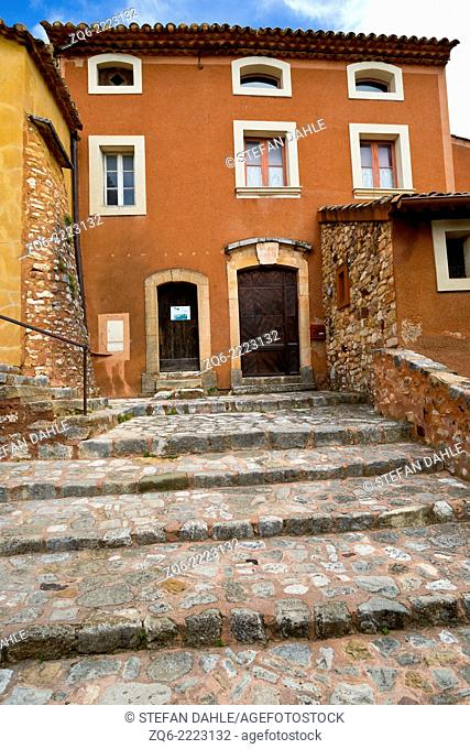 Typical exterior Facade in the medieval Village Roussillon, Provence, France