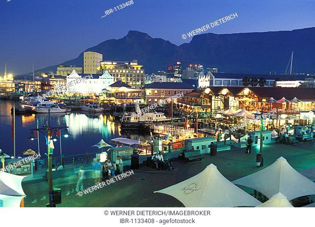 Restaurants on the Victoria & Alfred Waterfront at night, Table Mountain, nightlife, Cape Town, South Africa