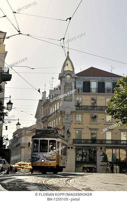 Tram on the Praca Luis de Camoes square, Chiado, Lisbon, Portugal, Europe