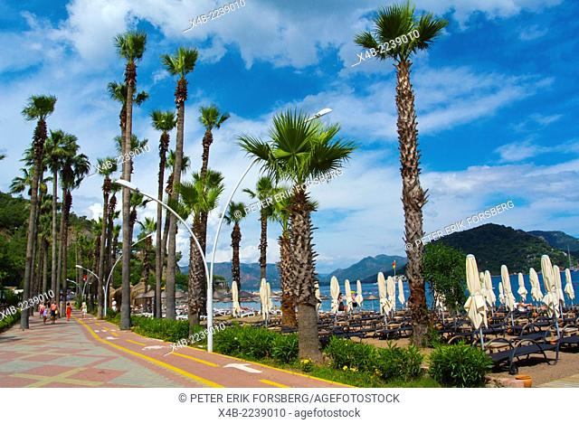 Beachside promenade, Icmeler resort, near Marmaris, Mugla province, Turkey, Asia Minor
