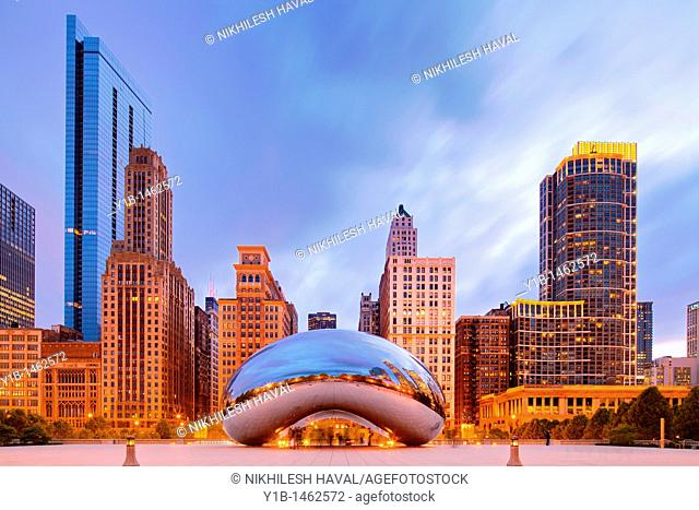 2010 Chicago skyline and Cloud gate, Illinois, IL