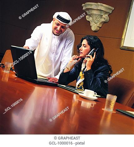 Business meeting of Arab people