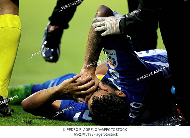 Second Division League Round 16 CD Lugo vs Tenerife, a player of Club Deportivo Tenerife, She complains on the ground after suffering a fault during the match...