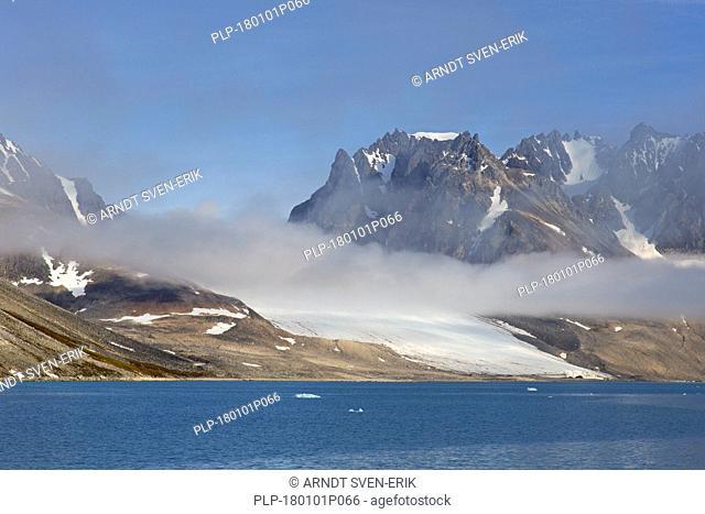 Waggonwaybreen / Waggonway Glacier debouches into Magdalenefjorden in Albert I Land at Spitsbergen / Svalbard, Norway