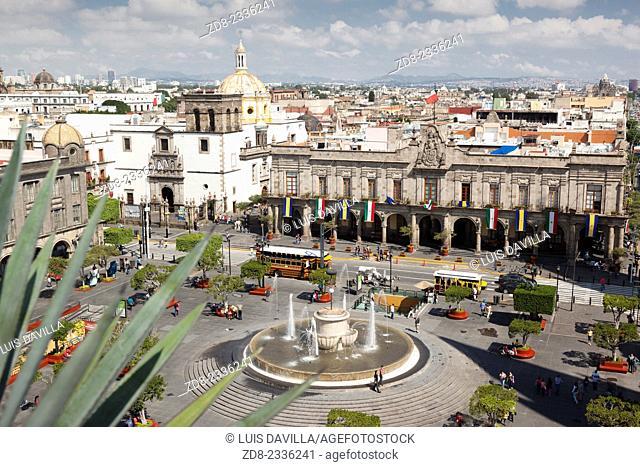 Guadalajara's Main Square, the Plaza de Armas and la merced church