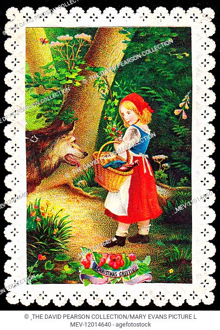 Little Red Riding Hood and wolf on a Christmas card