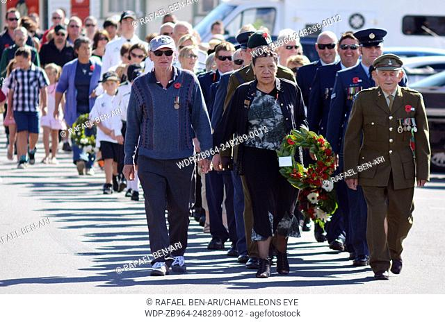 MANGONUI, NEW ZEALAND - APRIL 25 2014: New Zealanders and New Zealand Army veterans and officers march at the opening of the National War Memorial Anzac Day in...