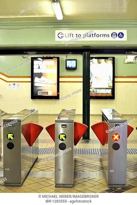 Ticket control barrier on a subway station, North Sydney, Sydney, New South Wales, Australia