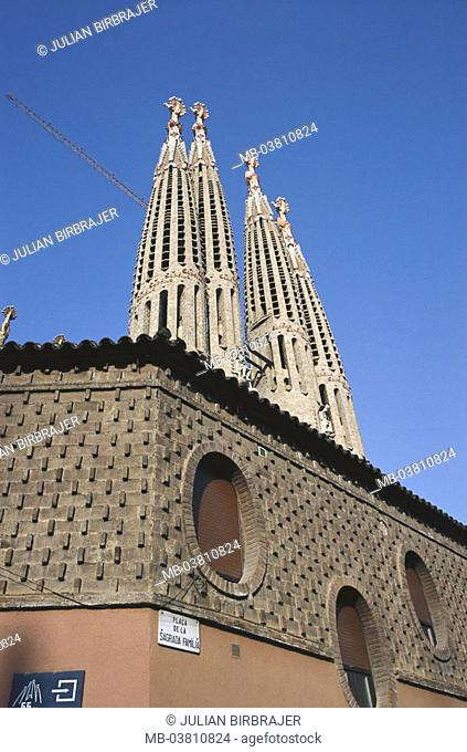 Spain, Katalonien, Barcelona,  La sagrada Familia, steeples,  Detail,  City, cathedral, church, towers, construction, architecture, Templo de la sagrada Familia