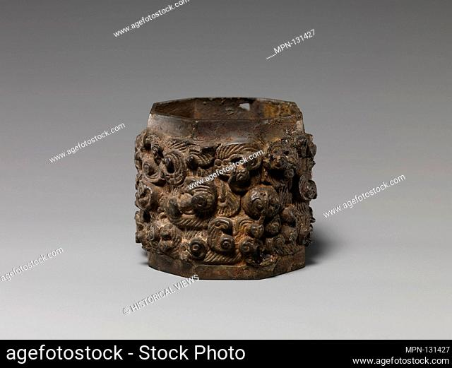 Ring. Period: Qin dynasty (221-206 B.C.); Culture: China; Medium: Bronze; Dimensions: H. 1 3/4 in. (4.4 cm); Diam. 1 7/8 in. (4