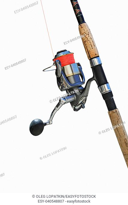 colorful spinning with reel for fishing on a white background