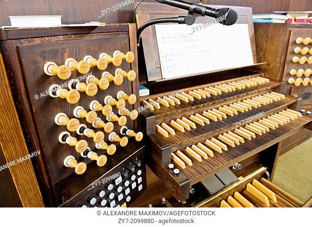 The church organ in hte one of Lutheran church in Finland