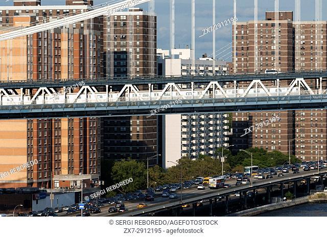 Manhattan Bridge landscape over East River, New York, USA