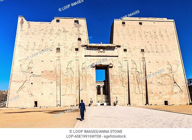 The first great pylon at the entrance to the ancient Egyptian temple of Horus at Edfu