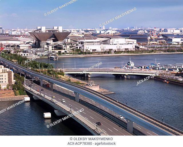 Tokyo Big Sight, International Exhibition Center, aerial view of Odaiba, Tokyo, Japan