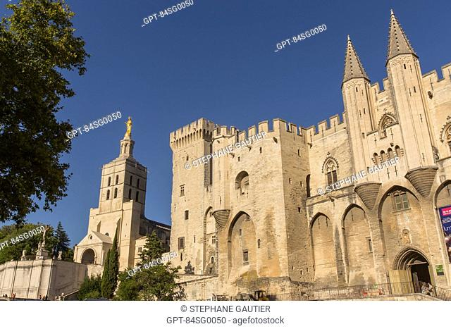 THE POPES' PALACE, THE BIGGEST GOTHIC CONSTRUCTION IN THE WORLD, THE SEAT OF WESTERN CHRISTIANITY IN THE 14TH CENTURY, LISTED AS A WORLD HERITAGE SITE BY UNESCO