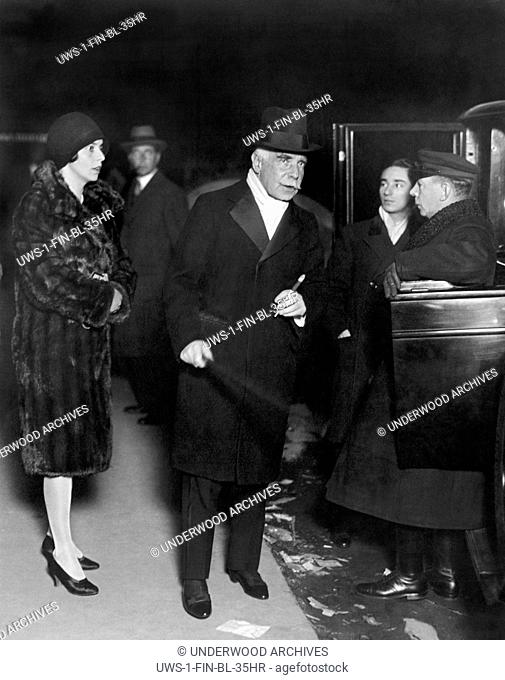 New York, New York: c. 1929 Financier and banker Otto Kahn arrives with his daughter to attend the six day bicycle races being held at Madison Square Garden