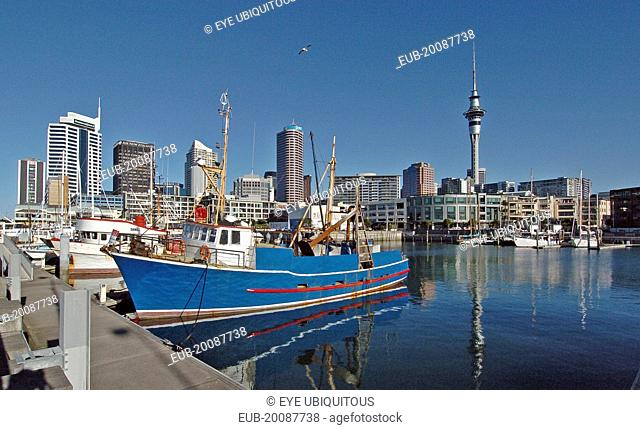 General View Of Auckland Skyline From The Harbour District Showing The Citys Sky Tower On The Right Hand Side