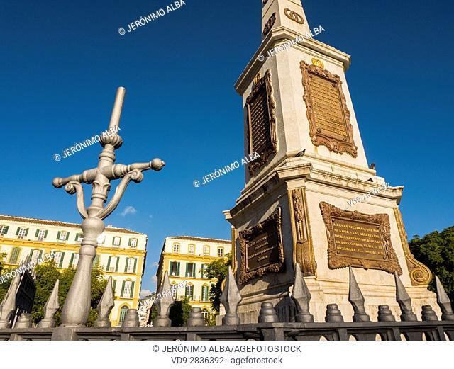 Obelisk in Plaza de la Merced, Costa del Sol, Malaga. Andalusia southern Spain. Europe