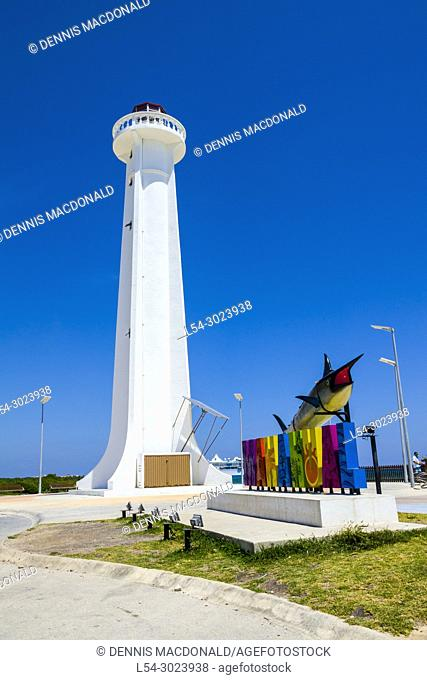Lighthouse at the mahahual, beach area in The Cruise destination Costa Maya Mexico America is a popular stop on the Western Caribbean cruise ship tour and...