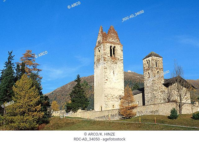 Church San Gian Celerina Engadin Graubunden Switzerland europe alps horizontal