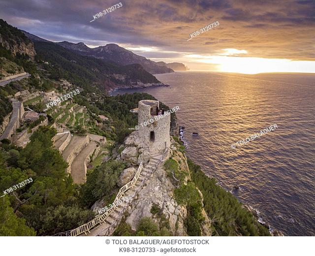 Torre des Verger, Mirador de ses Ã. nimes, Banyalbufa, Paraje natural de la Serra de Tramuntana, Mallorca, balearic islands, Spain