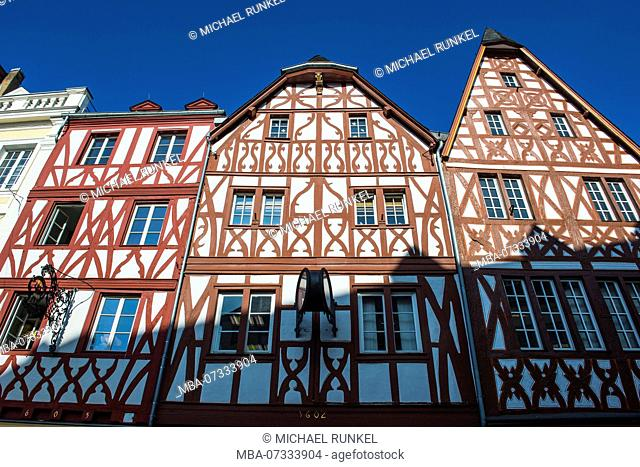 Close up of the half timbered old houses at the main market in the center of the medieval Unesco world heritage sight, Trier, Moselle valley