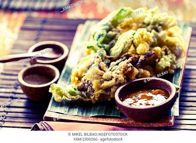 Indonesian vegetables tempura traditional recipe. City of Yogyakarta, Java island, Indonesia, Asia