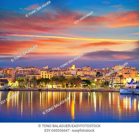 Tarragona port sunset with sea reflection in Catalonia
