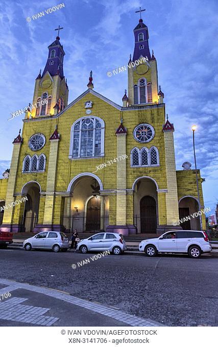 Wooden church of San Francisco (1910), Castro, Chiloe island, Los Lagos region, Chile