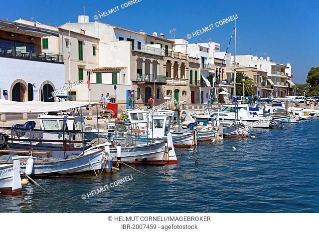 Fishing boats in the harbour of Porto Colom, Felanitx, Majorca, Balearic islands, Spain, Mediterranean Sea, Europe