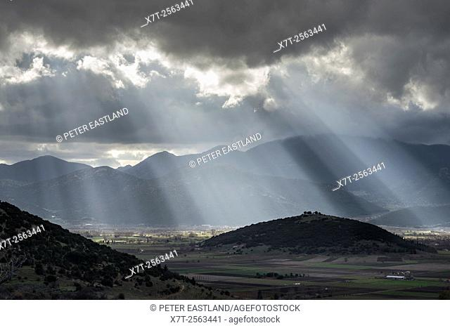 Looking across the plain of Mantineia, near Tripoli, Southern Arcadia, Peloponnese, Greece