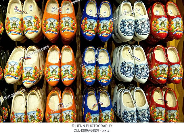 Display of colorful decorated clog souvenirs
