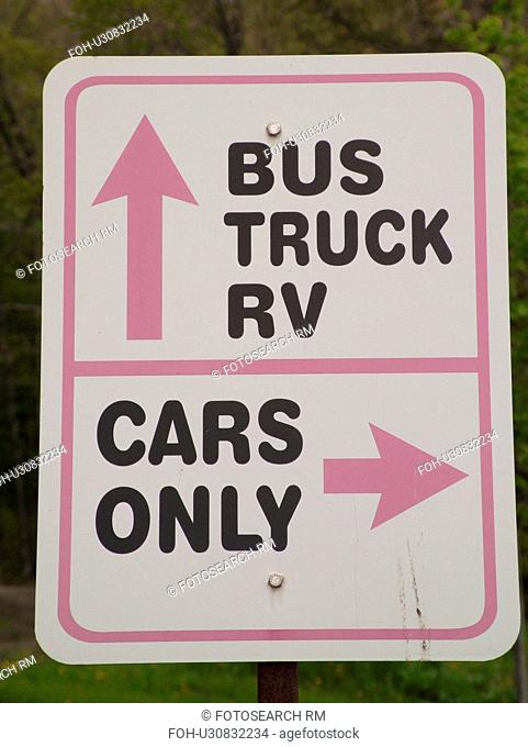 Montpelier, VT, Vermont, Morse Farm, parking signs, Bus, Truck, RV parking, Car parking