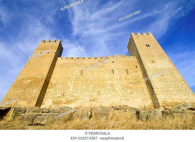 Castle in Sadaba with beauty sky in Saragossa, Spain