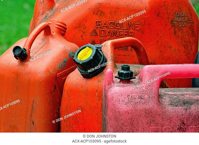 Gasoline containers, Greater Sudbury (Wanup), Ontario, Canada