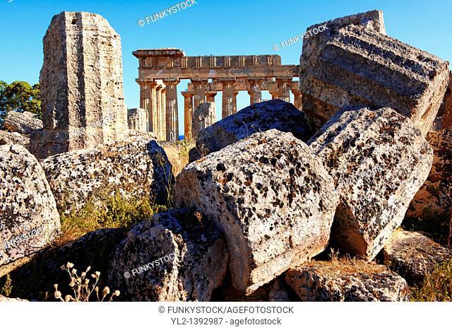 Doric column drums - Greek Dorik Temple ruins of Temple F at Selinunte, Sicily