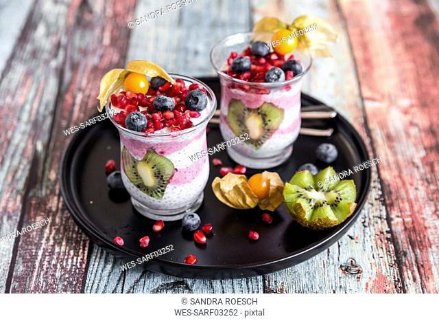 Two glasses of chia pudding with several fruits