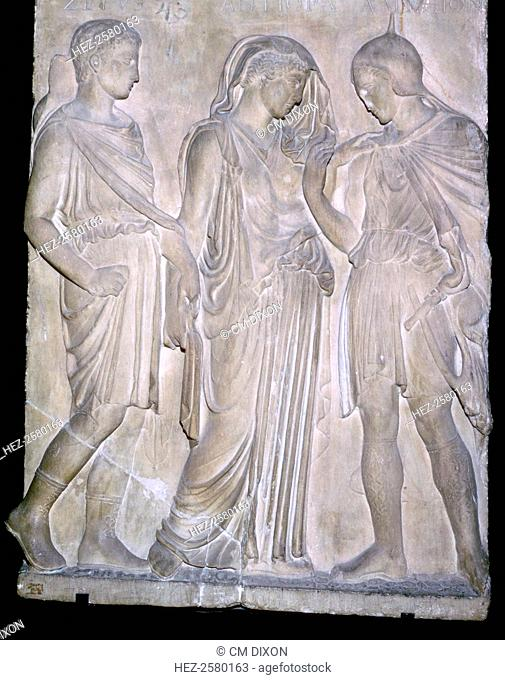 A Roman replica of a classical Greek relief, showing from right to left Orpheus, Eurydice and Hermes. The names above the figures are incorrect and appear to...