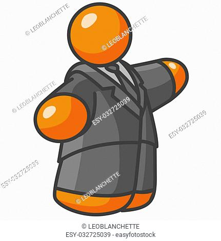 An orange man mayer, politician, or business man speaking or motioning. He is quite large for an orange man