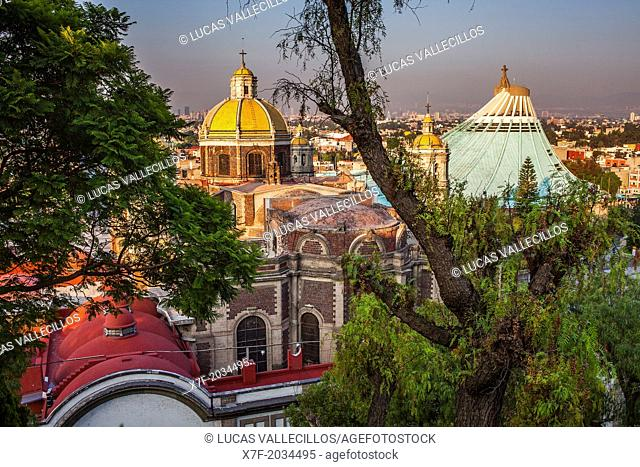 Old and New Basilicas Our Lady of Guadalupe, from Gardens of Tepeyac, Mexico City, Mexico