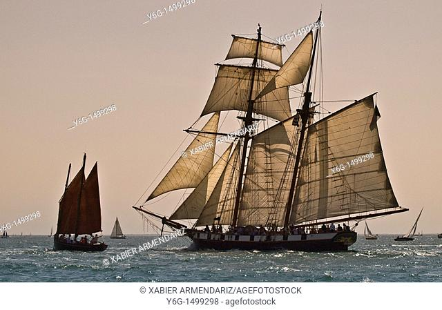 Old schooner sailing at sunset  Bay of Morbihan, Brittany, France, Europe