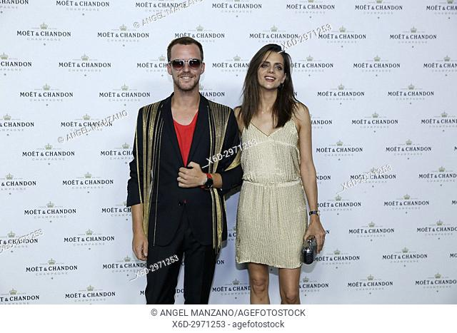Aldo Comas and Macarena Gomez attend Moet Chandon party day in La Casa Encendida. Moet chandon offers to create the largest pyramid of drinks in the world on...