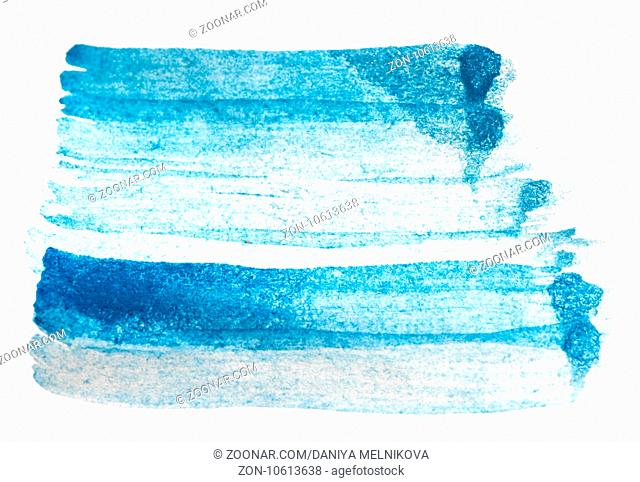 blue watercolor brush strokes isolated on white background